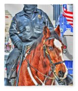 Officer On Brown Horse Fleece Blanket