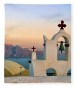 Oia In Santorini Fleece Blanket