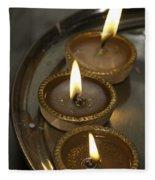 Oil Lamps Kept In A Plate As Part Of Diwali Celebrations Fleece Blanket