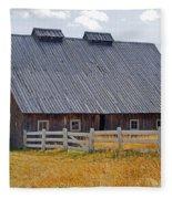 Old Barn And Fence Fleece Blanket