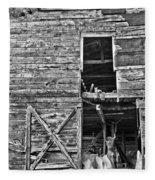 Old Barn Door In Black And White Fleece Blanket