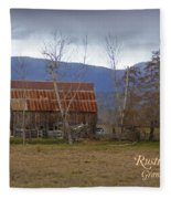 Old Barn In Southern Oregon With Text Fleece Blanket