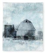 Old Barn In Winter Snow Fleece Blanket