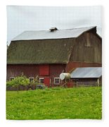 Old Barn On 264th. Street Fleece Blanket
