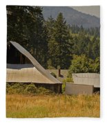 Old Barn On A Hot Summer Day In The Applegate Fleece Blanket