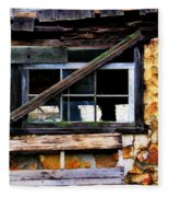 Old Barn Window 2 Fleece Blanket