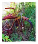 Old Bike And Weeds Fleece Blanket