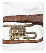 Old Broken Trumpet - Isolated Fleece Blanket