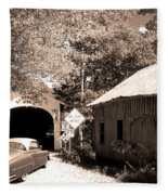 Old Car Older Barn Oldest Bridge Fleece Blanket