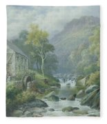 Old Disused Mill Dolgelly Fleece Blanket