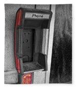 Old Empty Phone Booth Fleece Blanket
