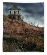 Old Farmhouse With Stormy Sky Fleece Blanket