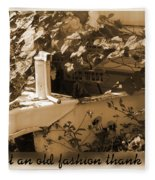 Old Fashion Thank You Card Fleece Blanket
