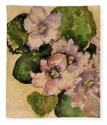 Old-fashioned African Violets Fleece Blanket