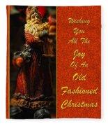 Old Fashioned Santa Christmas Card Fleece Blanket