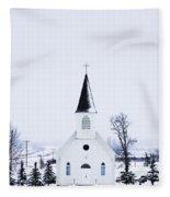 Old Fashioned Steeple Church In Winter Fleece Blanket