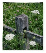 Old Fence And Wildflowers Fleece Blanket