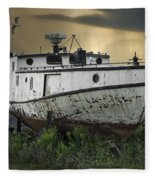 Old Fishing Boat On Shore With Storm Moving In Fleece Blanket