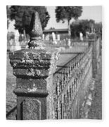 Old Graveyard Fence In Black And White Fleece Blanket