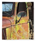 Old Green Truck Door Fleece Blanket