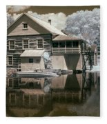 Old Grist Mill In Infrared Fleece Blanket