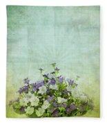 Old Grunge Paper Flowers Pattern Fleece Blanket