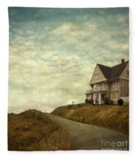 Old House On Rural Road Fleece Blanket