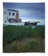 Old Houseboat On A Minnesota Shore On Lake Superior Fleece Blanket