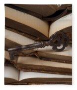 Old Key On Books Fleece Blanket