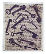 Old Keys On Sheet Music Fleece Blanket