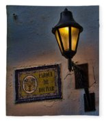 Old Lamp On A Colonial Building In Old Cartagena Colombia Fleece Blanket
