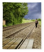 Old Man Walks Along Train Tracks Fleece Blanket