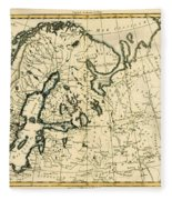 Old Map Of Northern Europe Fleece Blanket