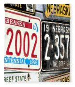 Old Nebraska Plates Fleece Blanket