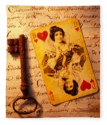 Old Playing Card And Key Fleece Blanket