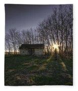 Old Prairie Homestead At Sunset Fleece Blanket