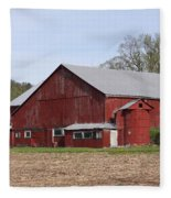 Old Red Barn With Short Silo Fleece Blanket