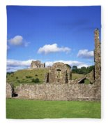 Old Ruins Of An Abbey With A Castle In Fleece Blanket