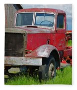 Old Rusted Semi-truck  Fleece Blanket