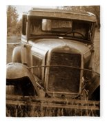 Old Rustic Ford-sepia Fleece Blanket