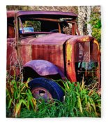 Old Rusting Truck Fleece Blanket