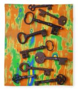 Old Rusty Keys Fleece Blanket