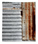 Old Rusty Sheet Metal Fleece Blanket
