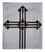 Old Rusty Vintage Cross Fleece Blanket