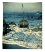 Old Sailing Vessel Near The Rocky Shore Fleece Blanket