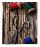 Old Scissors And Spools Of Thread Fleece Blanket
