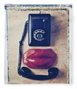 Old Telephone And Red Lips Fleece Blanket