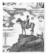 Old-west-art-cowboy Fleece Blanket