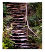 Old Wet Stone Steps Fleece Blanket