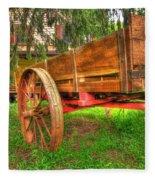 Old Wooden Cart Fleece Blanket